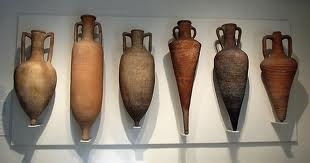 A variety of amphora's used for liquid and grains.The pointed end allowed them to be stuck in sand for sea travel